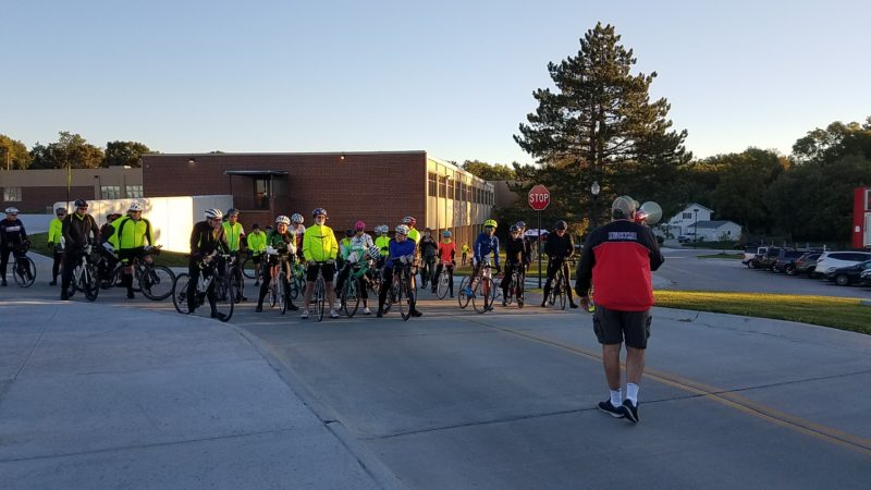 Doug with last minute instructions, Metric Century Cyclists