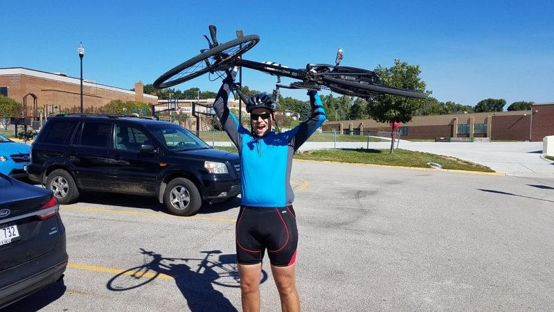 Jon Quandt Celebrate Completing his ride