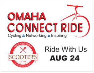 Omaha Connect Ride Scooters Giveaway Sign.