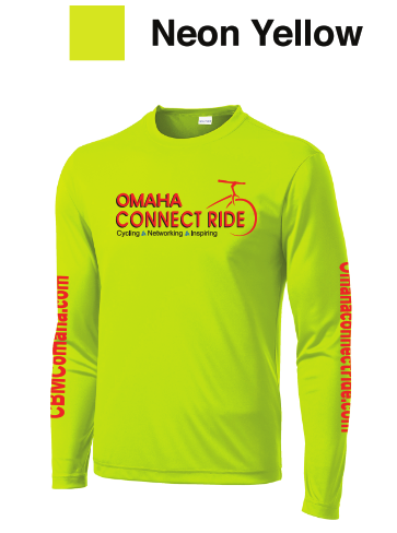 Neo Yellow long Sleeve Dry-T | Omaha Connect Ride cycling event