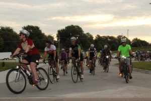 Peopel riding bikings start from Relevant Church in Elkhorn, NE for the 2019 Omaha Connect Ride